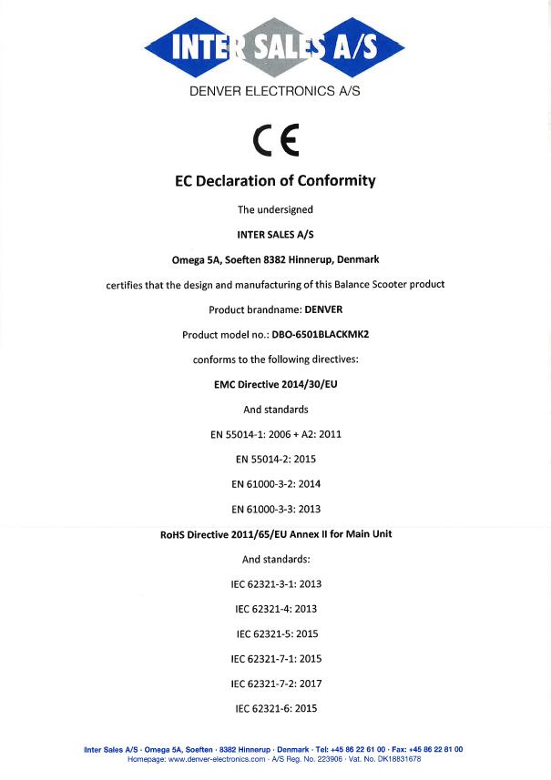 Denver DBO-6501 MK2 Maschinenrichtlinie