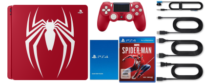 <strong>Sony PlayStation 4 Slim</strong> Spiderman Limited Edition Lieferumfang